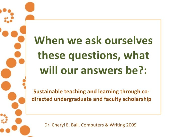 When we ask ourselves these questions, what will our answers be?: Sustainable teaching and learning through co-directed un...