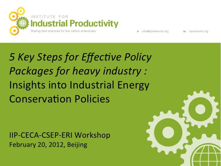 5	  Key	  Steps	  for	  Effec0ve	  Policy	      Main	  Presenta+on	  Title	                                   	  Packages	 ...