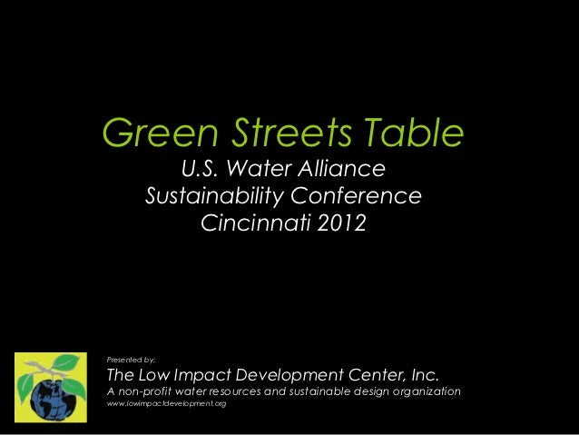 Green Streets Table             U.S. Water Alliance          Sustainability Conference               Cincinnati 2012Presen...