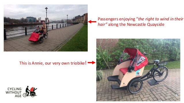 "Passengers enjoying ""the right to wind in their hair"" along the Newcastle Quayside This is Annie, our very own triobike!"