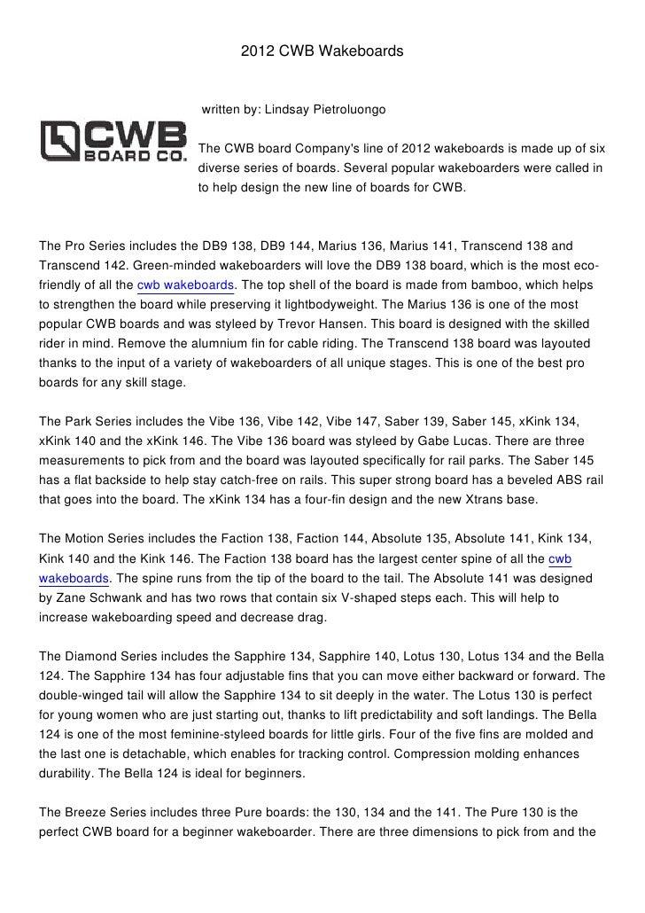 2012 CWB Wakeboards                             written by: Lindsay Pietroluongo                            The CWB board ...