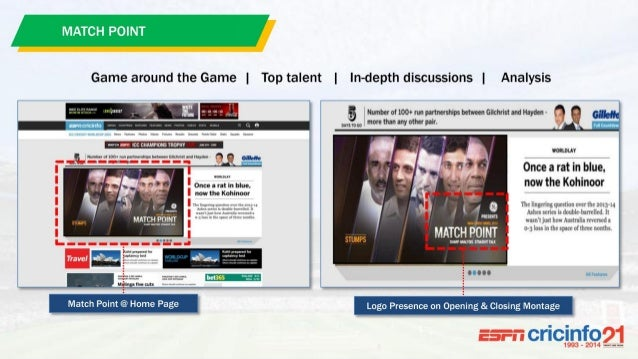 MATCH POINT @ 50% SOV Live Score Card Page Game around the Game   Top talent   In-depth discussions   Analysis