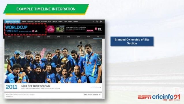 The World's Biggest Cricket Site Leading Up to and During the World's Biggest Cricket Event Premium Content and Full Digit...