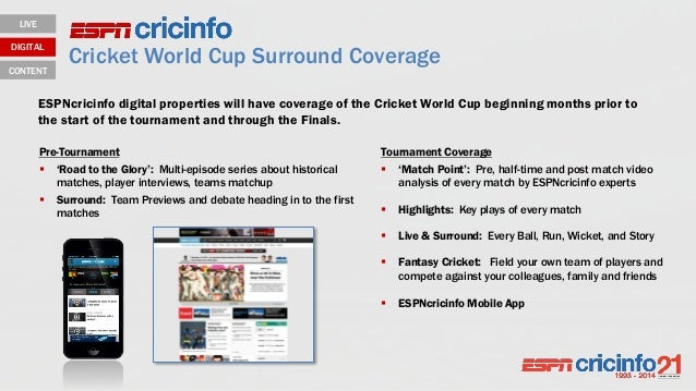 Cricket World Cup Surround Coverage LIVE DIGITAL CONTENT Tournament Coverage  'Match Point': Pre, half-time and post matc...