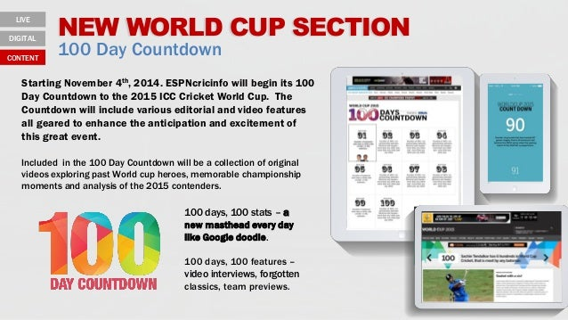 NEW WORLD CUP SECTION 100 Day Countdown 100 days, 100 stats – a new masthead every day like Google doodle. 100 days, 100 f...