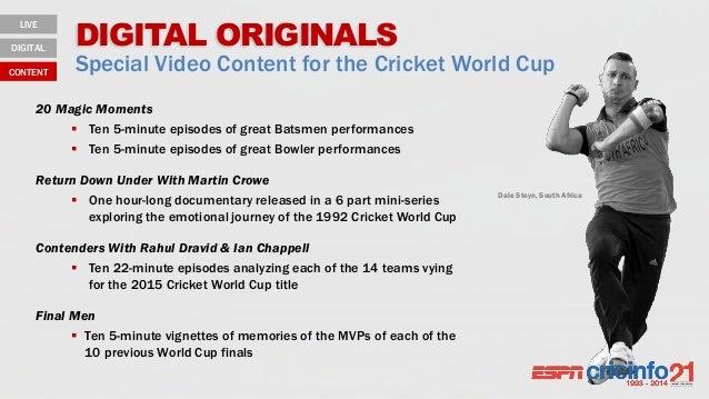 DIGITAL ORIGINALS Special Video Content for the Cricket World Cup LIVE DIGITAL CONTENT 20 Magic Moments  Ten 5-minute epi...