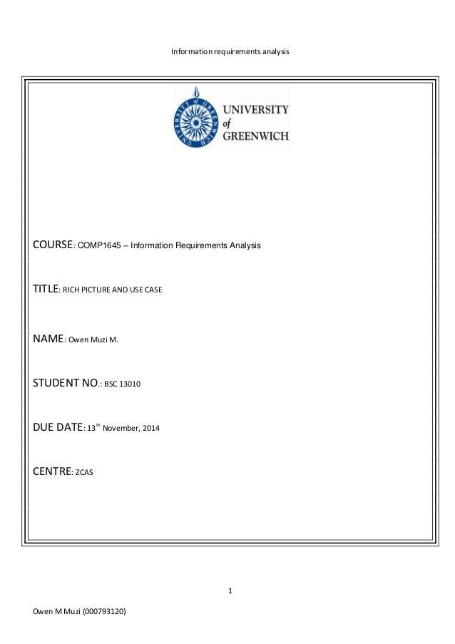 Information requirements analysis 1 Owen M Muzi (000793120) COURSE: COMP1645 – Information Requirements Analysis TITLE: RI...