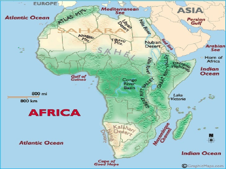 Labled Map Of Africa With Mountain Map African Rivers And - Africa physical map