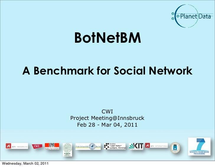 BotNetBM          A Benchmark for Social Network                                       CWI                            Proj...