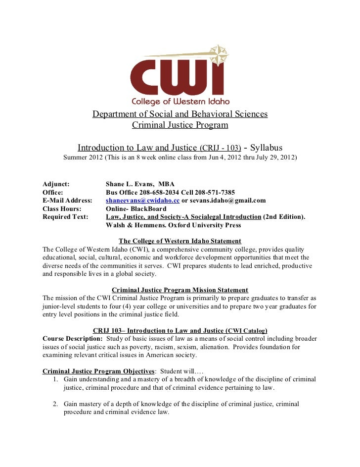 Department of Social and Behavioral Sciences                           Criminal Justice Program            Introduction to...