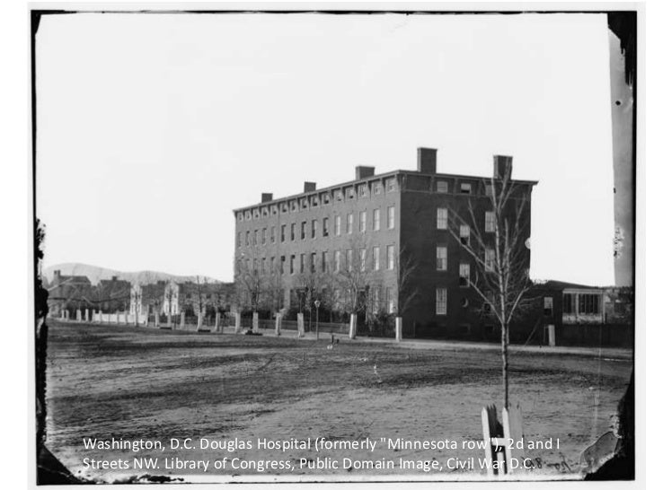 "Washington, D.C. Douglas Hospital (formerly ""Minnesota row""), 2d and IStreets NW. Library of Congress, Public Domain Image..."
