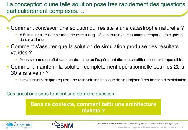 Copyright © 2016 Capgemini and Sogeti – Internal use only. All rights reserved. 4 Surveillance d'un site de type SEVESO et...