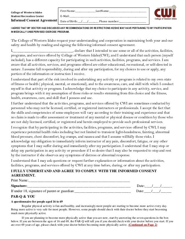 College of Western Idaho Student Recreation Center Informed Consent Agreement I AGREE THAT MY DOCTOR HAS DISCUSSED ANY REC...