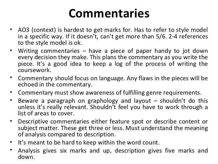 as level english language coursework commentary Throughout this comparative commentary i will compare and analyze two well known coursework writing service the comparative commentary english language essay.