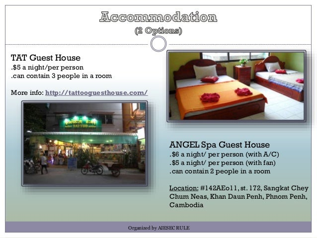 TAT Guest House .$5 a night/per person .can contain 3 people in a room More info: http://tattooguesthouse.com/ Organized b...
