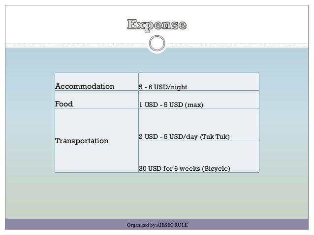 Accommodation 5 - 6 USD/night Food 1 USD - 5 USD (max) Transportation 2 USD - 5 USD/day (Tuk Tuk) 30 USD for 6 weeks (Bicy...