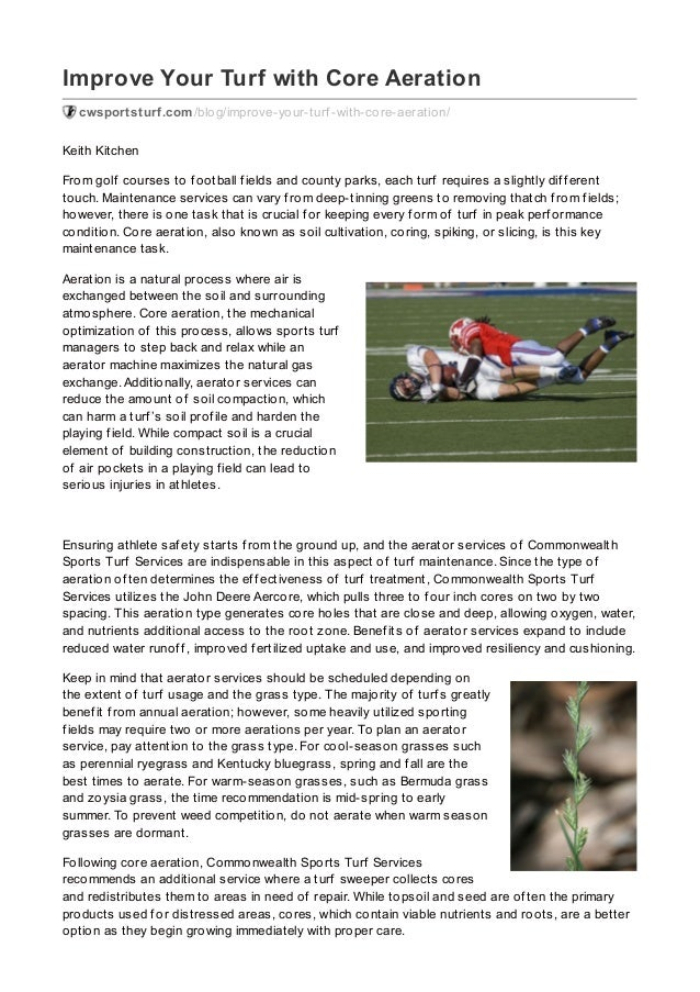 Improve Your Turf with Core Aeration cwsportsturf.com/blog/improve-your-turf -with-core-aeration/ Keith Kitchen From golf ...