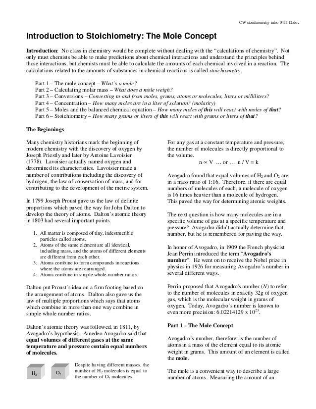 Stoichiometry Concept Map.Cw Stoichiometry Intro 041112
