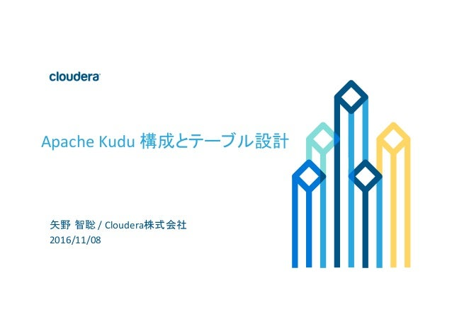 1	©	Cloudera,	Inc.	All	rights	reserved.	 Apache	Kudu	構成とテーブル設計	 矢野 智聡	/	Cloudera株式会社	 2016/11/08