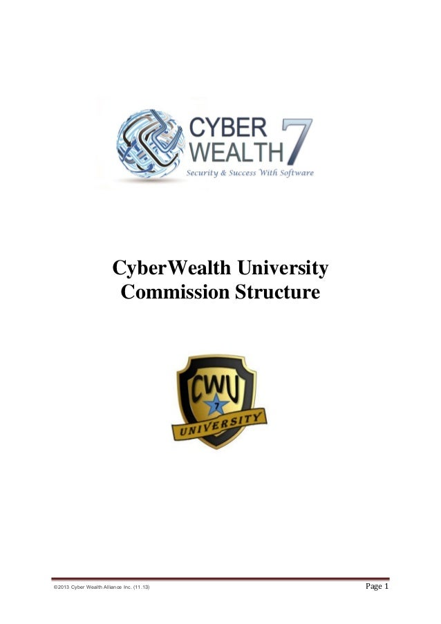 CyberWealth University Commission Structure  ©2013 Cyber Wealth Alliance Inc. (11.13)  Page 1