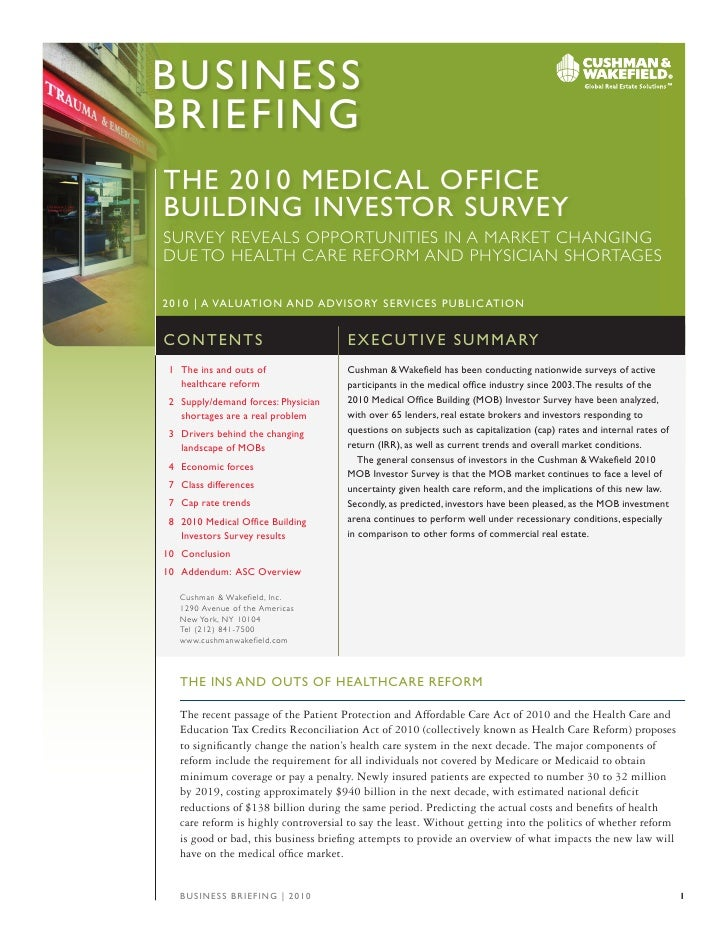 C&Wus2010 Medical Office Building Survey