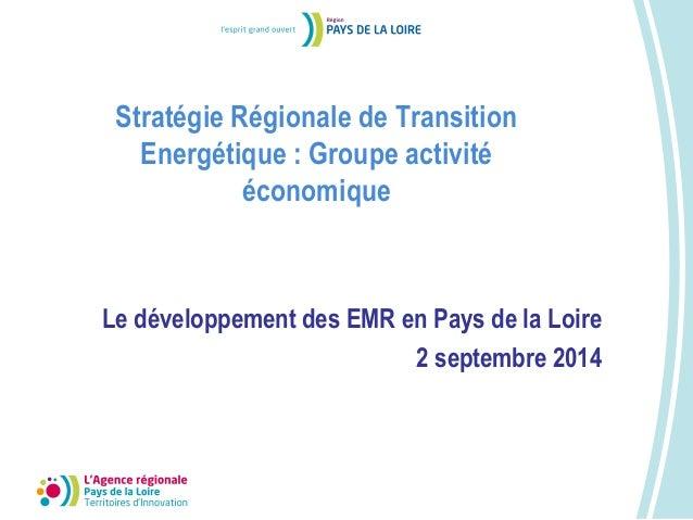 Le développement des EMR en Pays de la Loire  2 septembre 2014  Stratégie Régionale de Transition  Energétique : Groupe ac...