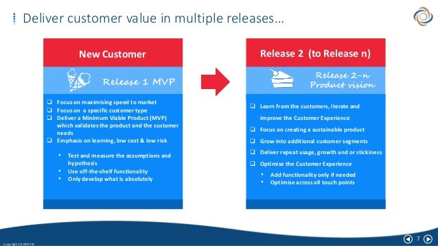 7 Copyright CX NPD ltd Deliver customer value in multiple releases… New Customer  Focus on maximising speed to market  F...