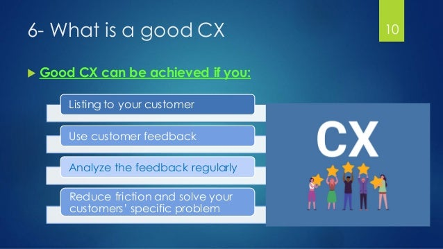 6- What is a good CX  Good CX can be achieved if you: Listing to your customer Use customer feedback Analyze the feedback...