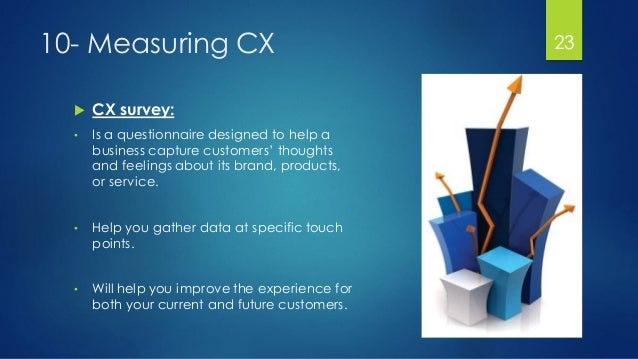 10- Measuring CX  CX survey: • Is a questionnaire designed to help a business capture customers' thoughts and feelings ab...