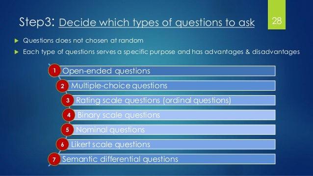 Step3: Decide which types of questions to ask 28  Questions does not chosen at random  Each type of questions serves a s...