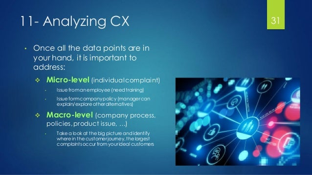 11- Analyzing CX • Once all the data points are in your hand, it is important to address:  Micro-level (individual compla...