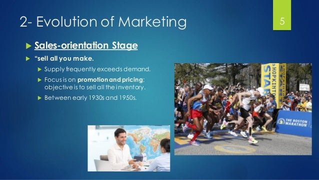 """2- Evolution of Marketing  Sales-orientation Stage  """"sell all you make.  Supply frequently exceeds demand.  Focus is o..."""
