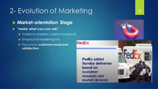"""2- Evolution of Marketing  Market-orientation Stage  """"make what you can sell.""""  Variety in markets, variety in products..."""