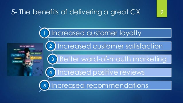 5- The benefits of delivering a great CX Increased customer loyalty Increased customer satisfaction Better word-of-mouth m...
