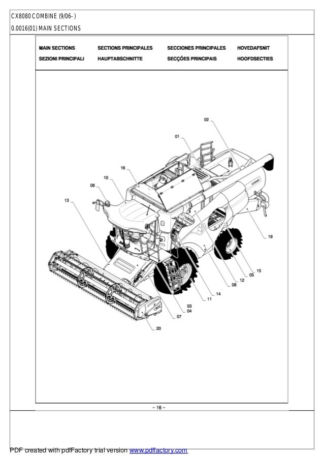 New Holland Cx 8080 Parts Catalog