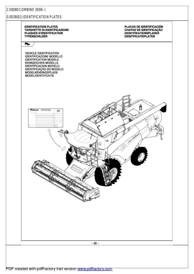 New Holland Cx 8080 Parts Catalog