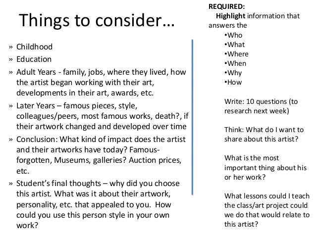 REQUIRED:  Things to consider…                                   Highlight information that                               ...