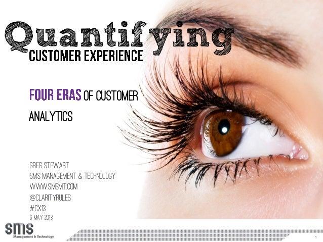 1Quantifyinggreg StewartSMS Management & Technologywww.smsmt.com@clarityrules#CX136 may 2013of customeranalytics