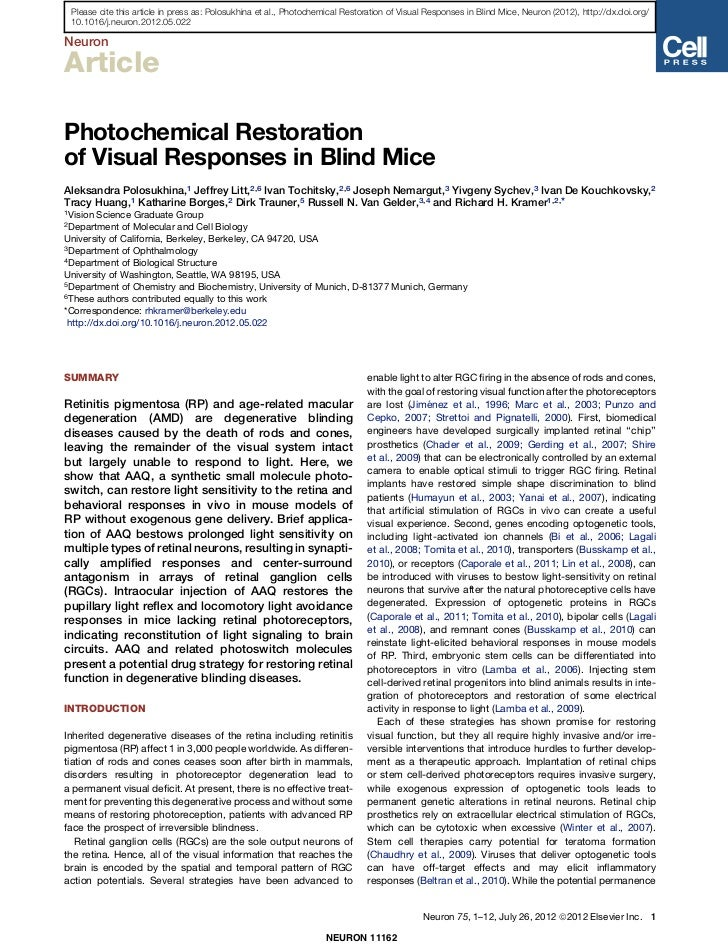 Please cite this article in press as: Polosukhina et al., Photochemical Restoration of Visual Responses in Blind Mice, Neu...