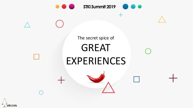 Copyright@STKI_2019 Do not remove source or attribution from any slide or graph 1 The secret spice of GREAT EXPERIENCES ST...