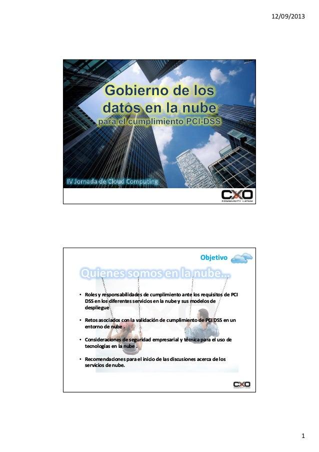 12/09/2013 1 ObjetivoObjetivo •• Roles y responsabilidades de cumplimiento ante los requisitos de PCIRoles y responsabilid...