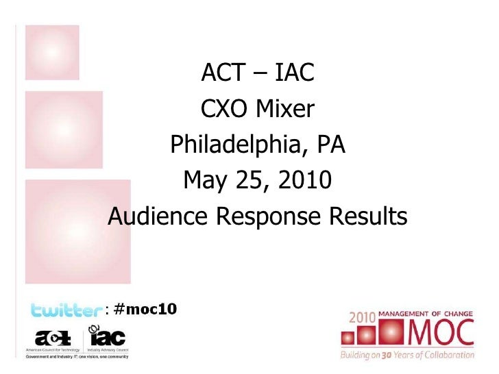 ACT – IAC<br />CXO Mixer<br />Philadelphia, PA<br />May 25, 2010<br />Audience Response Results<br />