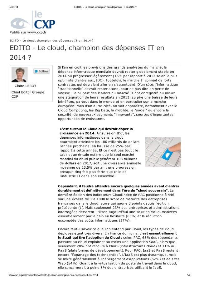 Cxp le cloud-champion-des-depenses-it-en-2014