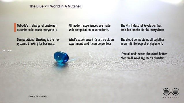 | 2020 C X . R E P O R T 20 20 Text 49 The Blue Pill World In A Nutshell Source: @johnmaeda Computational thinking is the ...