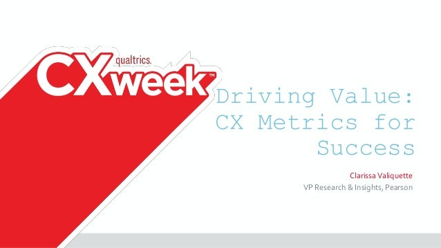 Driving Value: CX Metrics for Success ClarissaValiquette VP Research & Insights, Pearson