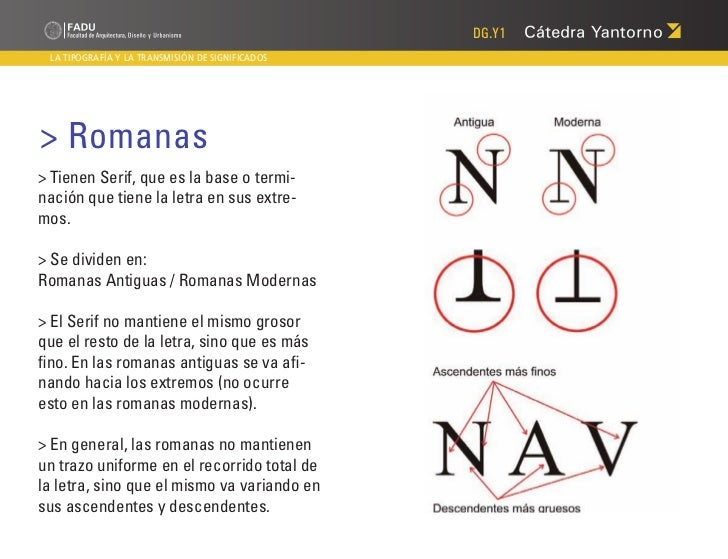 DG.Y1 LA TIPOGRAFÍA Y LA TRANSMISIÓN DE SIGNIFICADOS> Romanas> Tienen Serif, que es la base o termi-nación que tiene la le...