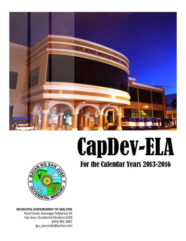 Page 0 of 123 Capamunicipal Development and Executive Legislative Agenda Municipality of San Jose, Occidental Mindoro 5100...