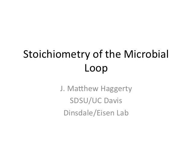 Stoichiometry of the Microbial             Loop           J. Ma5hew Haggerty                 SDSU/UC Dav...