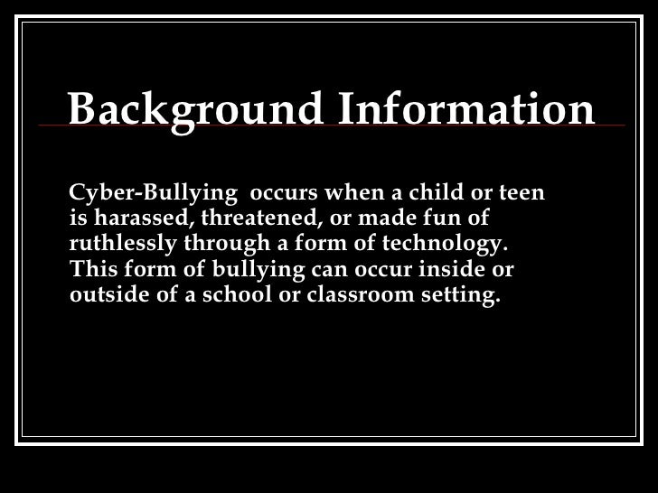 background info on bullying