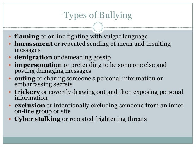 cyberbullying the technological type of bullying Even though it may not take place in person, the emotional and psychological effects of online bullying are just as destructive.